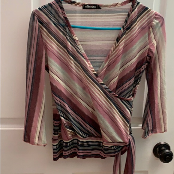 Younique Tops - Striped blouse 3/4 sleeve Rose colored